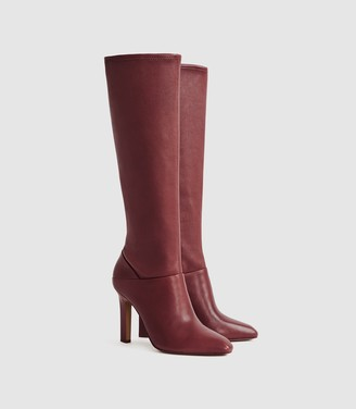 Reiss CRESIDA LEATHER KNEE HIGH BOOTS Claret