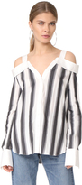 KENDALL + KYLIE Stripe Off Shoulder Shirt