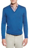 Ermenegildo Zegna High-Performance Merino Wool V-Neck Sweater, Aqua