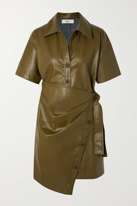 Frankie Shop - Zoeyy Faux Leather Wrap Mini Dress - Green