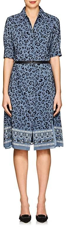 Altuzarra Women's Kieran Floral & Leopard-Print Silk Belted Dress