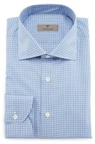 Canali Check Dress Shirt, White/Blue