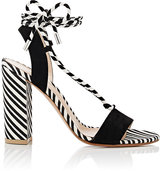 Gianvito Rossi Women's Antibes Canvas & Suede Sandals-BLACK, WHITE