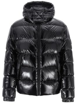 HUGO BOSS Regular Fit Down Jacket In Lustrous Fabric - Black