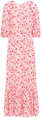 By Ti Mo Gathered Floral-print Crepe Maxi Dress