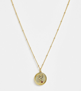 Reclaimed Vintage inspired 14k gold plate Capricorn star sign coin necklace