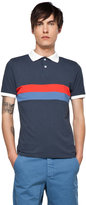 This is Not a Polo Shirt by band of outsiders Panel Stripe Polo in Midnight Blue/Molten Lava/Moonlight Blue Stripes