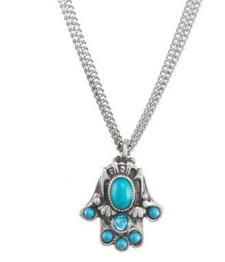 Turquoise Hamsa Hand With Pearl Eye Double Bail Pendant with Electroplated Silver Edge S8B12-20
