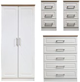 Swift Regent Ready Assembled 4 Piece Package - 2 Door Wardrobe, 5 Drawer Chest and 2 Bedside Chests