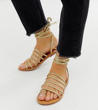 London Rebel wide fit plaited toe loop sandals in gold