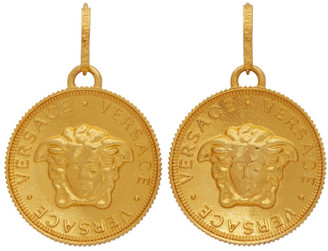 Versace Gold Medusa Pendant Earrings