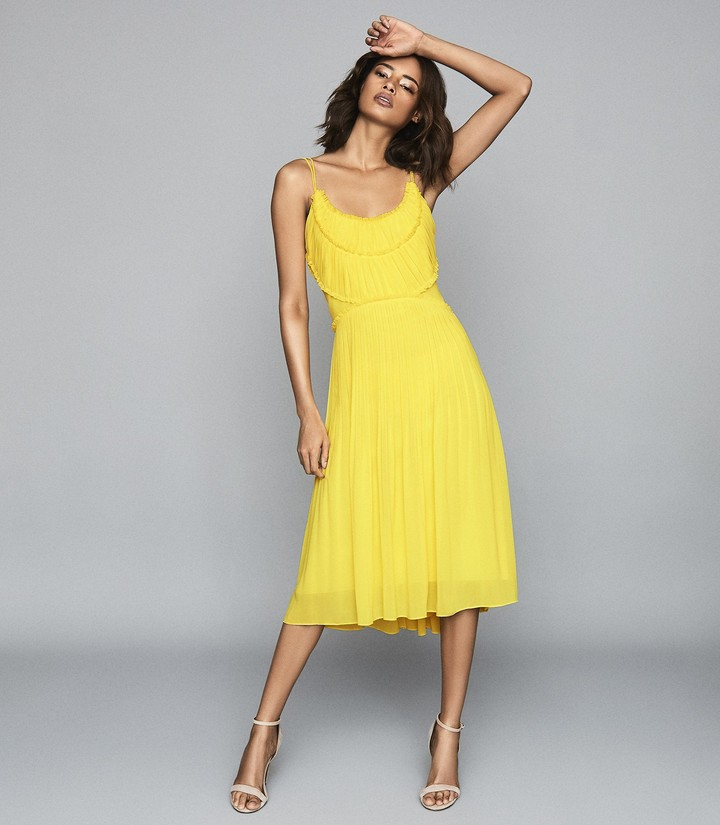 Reiss Thora - Pleated Chiffon Dress in Yellow