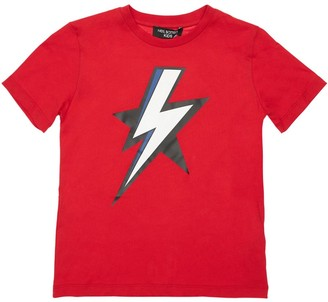 Neil Barrett Thunder Print Cotton Jersey T-shirt