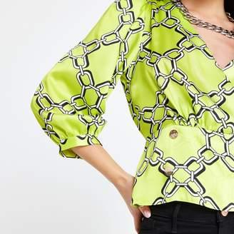 River Island Womens Petite Green chain print blouse