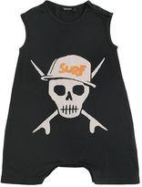 Skull Printed Cotton Jersey Romper