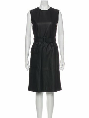 Bottega Veneta Leather Knee-Length Dress Grey