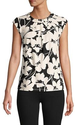 Karl Lagerfeld Paris Floral Cap-Sleeve Top