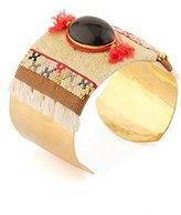 "Satellite Women's ""Kuzco"" Gold Plated Brass Brown Stone Large Bar Cuff"