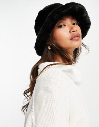 Asos Design DESIGN faux fur roll back bucket hat-Black