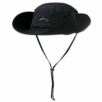 Fancet Mens Safari Packable Sun Fishing Wide Brim Bonnie Waterproof Rain Hat Bucket for Large Head Women Black 56-60cm