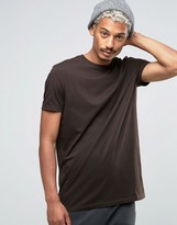 Asos Longline T-shirt In Brown