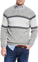 Brunello Cucinelli Striped Donegal Crewneck Sweater, Gray