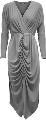 Oops Womens Twisted Wrap Cross Over V Neck Front Ruched Bodycon Fit Midi Dress Black