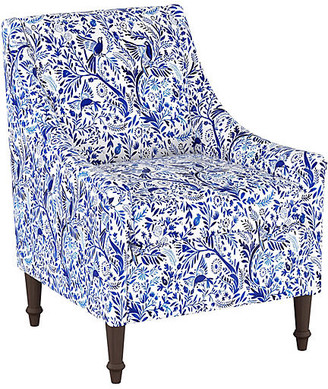 One Kings Lane Holmes Accent Chair - Blue/White Linen