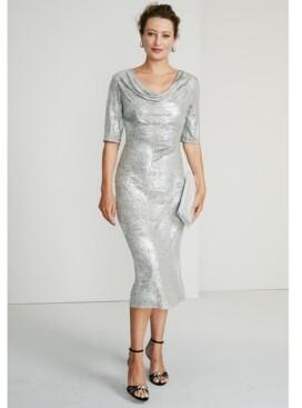 Connected Metallic Cowlneck Midi Dress