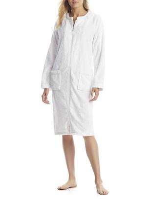 Eileen West White Zip-Up Plush Robe