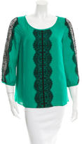 Tibi Silk Lace-Trimmed Blouse