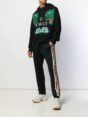 Gucci Printed Side Stripe Track Pants Black