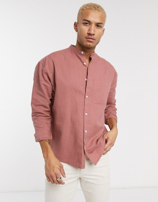 ASOS DESIGN oversized linen shirt in pink with grandad collar