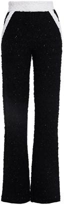 Balmain Sequin-embellished Metallic Boucle-knit Straight-leg Pants