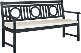 One Kings Lane Praia Bench - Dark Slate Gray - frame, dark slate gray; upholstery, ivory