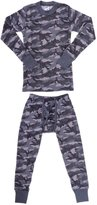 Platinum Junior Boy's Camouflage 2 Piece Thermal Long Sleeve and Pant Underwear Set (Grey,)