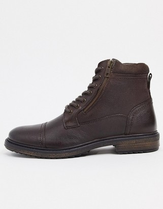 Silver Street side zip lace up leather boots in brown