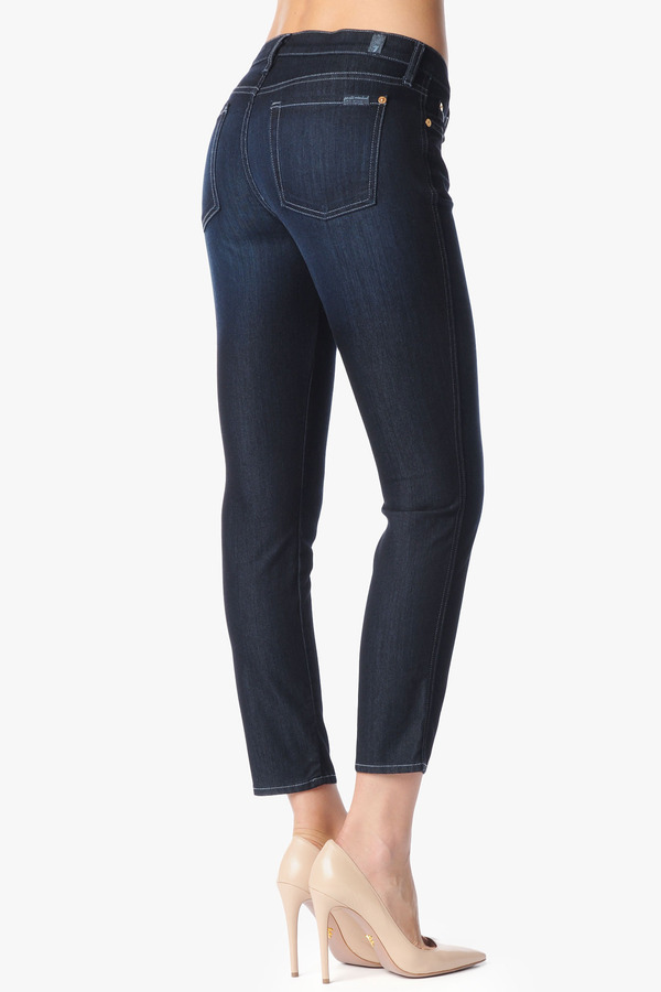 "7 For All Mankind Cropped Slim Cigarette In Rich Clean Blue (27"" Inseam)"