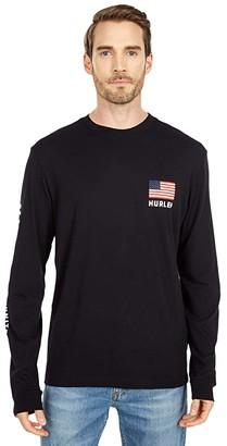 Hurley Destination Long Sleeve (Black/USA) Men's Clothing
