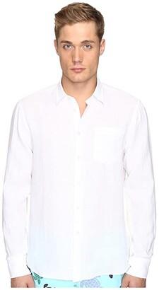 Vilebrequin Linen Long Sleeve Button Up (White) Men's Swimwear