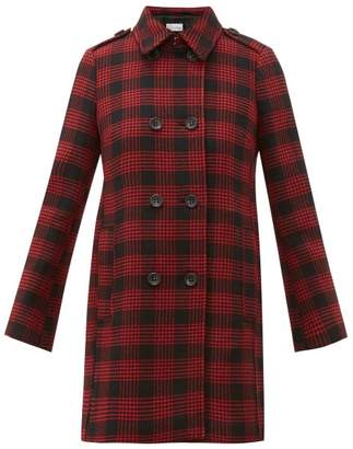 RED Valentino Double Breasted Prince Of Wales Checked Coat - Womens - Black Red