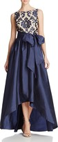Adrianna Papell Petites High/Low Taffeta Gown