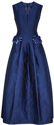 Talbot Runhof Momo navy embellished jacquard gown