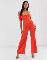 Club L London bardot wide leg jumpsuit in orange