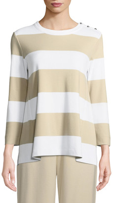 Joan Vass Petite Striped Pullover Top