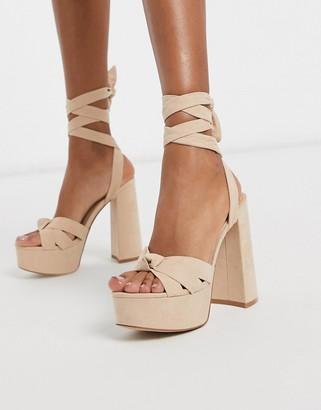 Public Desire Daydream ankle tie block heeled sandal in beige