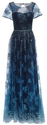 Marchesa Cutout Gathered Embroidered Tulle Gown