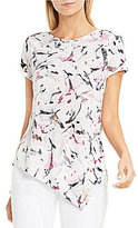 Vince Camuto Two By Short Sleeve Asymmetric Painterly Muses Burnout Tee