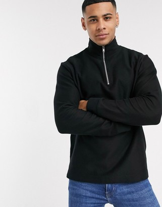 Topman twill half zip sweat in black