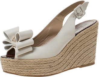 Valentino White Leather Rockstud Bow Espadrille Wedge Slingback Sandals Size 40